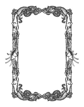Vector vintage nautical and marine frame