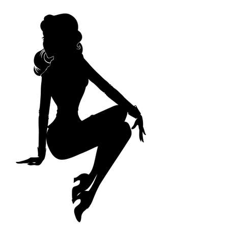 pinup girl: Vector silhouette of sexy pin-up girl in suite sitting isolated on white Illustration