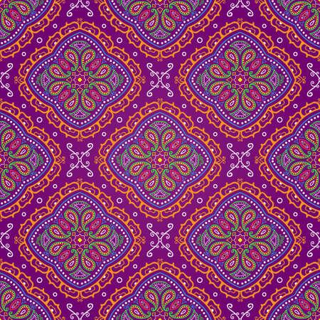 Vector bright seamless indian pattern, paisley on purple Ilustração