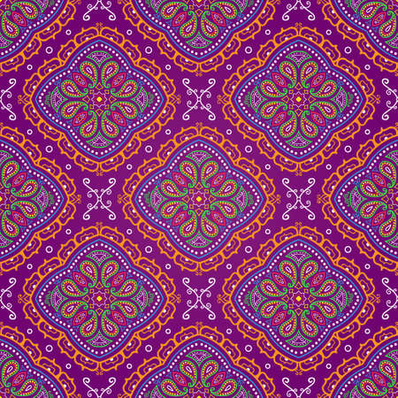 Vector bright seamless indian pattern, paisley on purple Vectores