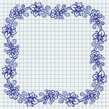 Vector floral ornamental frame on checked school paper drawn by ballpoint pen ink blue, back to school background Vector
