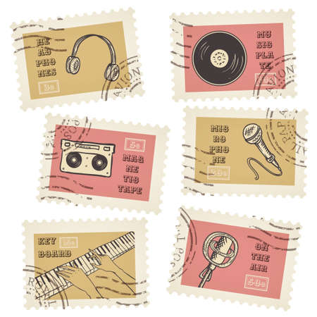 Vector postage stamps collection, retro music equipment theme, canceled - decorative set for scrapbooking Vector