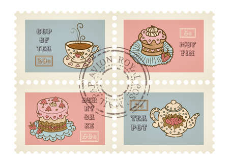 canceled: Vector postage stamps retro pastry theme, canceled, decorative set for scrapbooking Illustration