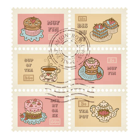 canceled: Vector postage stamps retro pastry theme, canceled, decorative 6 stamps set for scrapbooking