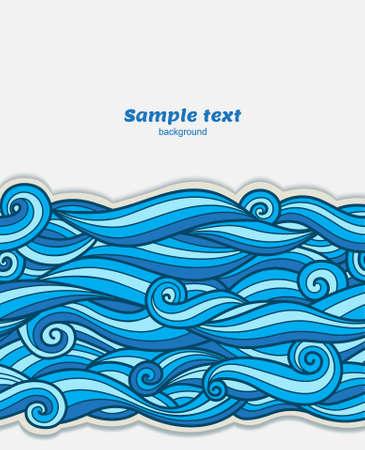 waves pattern: Vector blue waves pattern paper border background