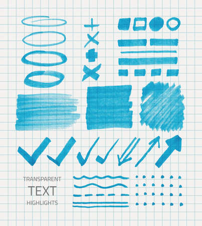 Vector set of transparent highlighter marks, blue color on school checked paper Vector