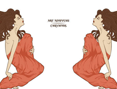 Atr-nouveau style vector sitting women isolated on white, detailed design elements