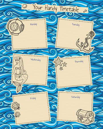 Time table with doodles marine theme and waves background, six days week planner Vector
