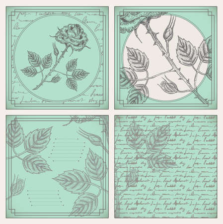 poems: Vintage scrapbooking cards set with engraved roses and poems, vector elements retro set in mint colors