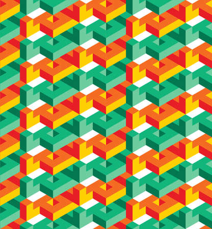surrealistic: Isometric geometric seamless pattern of triangles, turquoise and orange, ready to use