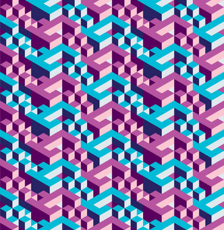 surrealistic: Isometric geometric seamless pattern of triangles, blue and purple, ready to use