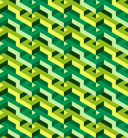 surrealistic: Isometric geometric seamless pattern of green triangles, ready to use Illustration