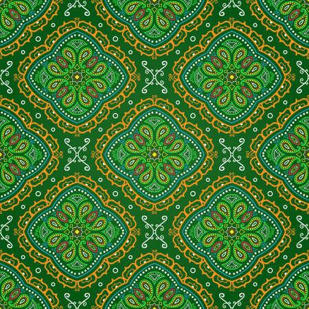 Vector bright seamless indian pattern, paisley mandala on green Illustration