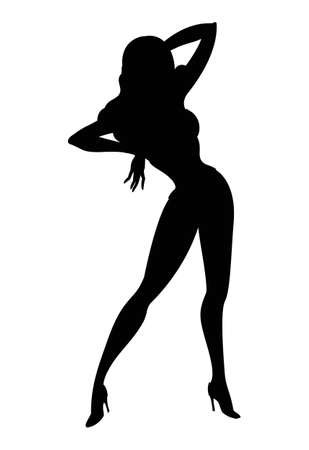young woman legs up: silhouette of sexy dancing pin-up girl isolated on white