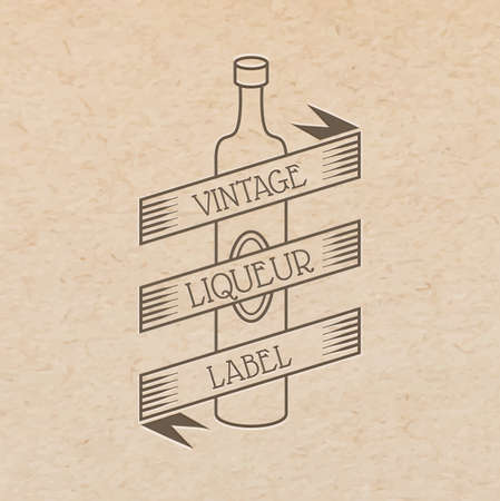 pressed: vintage label pressed out on craft paper, beverages emblem - wine bottle with place for text ribbon