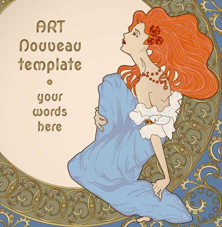 long hair woman: Vector art nouveau con tarjeta se�ora sentada en marco floral adornado