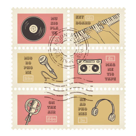canceled: Vector postage stamps retro music equipment theme, canceled, decorative set for scrapbooking