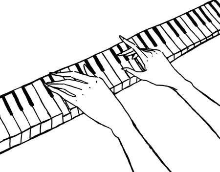 Vector piano keyboard and pianist hands isolated on white Vector