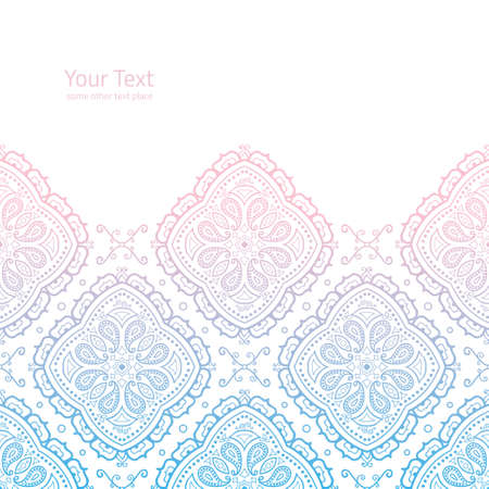 horisontal: Vector ornate light background with copy space