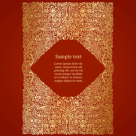 Ornate oriental invitation card, golden foil on red, vector illustration
