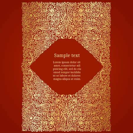 Ornate oriental invitation card, golden foil on red, vector illustration