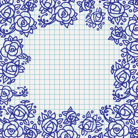ballpoint: floral ornamental frame on checked school paper drawn by ballpoint pen blue ink, back to school theme background Illustration
