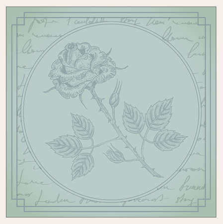 Vintage scrapbooking page with engraved roses and frame Vector