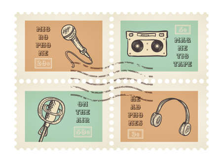 canceled: Vector postage stamps of retro music equipment theme, canceled, decorative set for scrapbooking - 4 separated elements