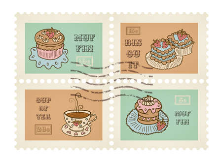 Vector postage stamps retro pastry theme, canceled, decorative set for scrapbooking Vector