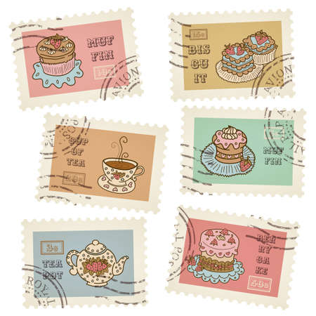 canceled: postage stamps retro pastry theme, canceled, decorative 6 stamps set for scrapbooking