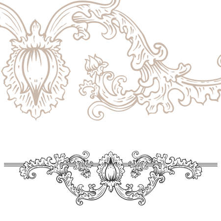 artnouveau: Detailed art-nouveau decorative divider as vintage engraved rose rod, with close up fragment
