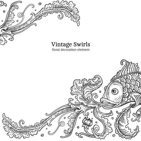 floral ornament with fish, engraving style swirl Illustration