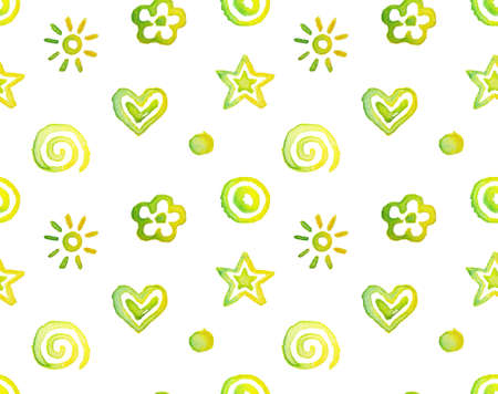 seamless pattern, background watercolor cute doodles isolated on white Vector