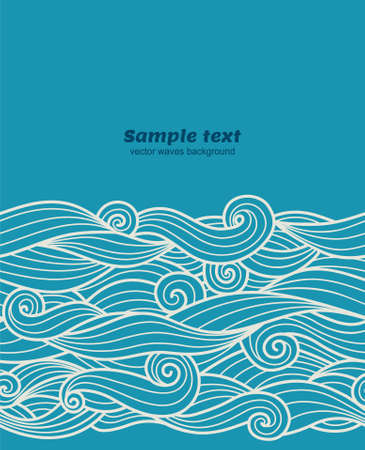 blue hair: Vector blue waves seamless pattern border background Illustration