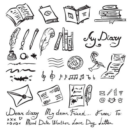 writing instrument: set of education and writing instrument elements, hand drawn doodles isolated on white, scrapbooking collection Illustration