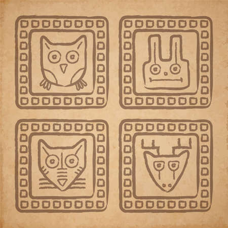 Vector tribal style animal stamps set, mayan ornamental tile on old parchment or cardboard Vector
