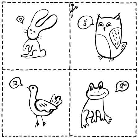 pigeon owl: Vector set of cut out cards with cute animals, hand drawn doodles of baby animals and marks for cutting out and coloring