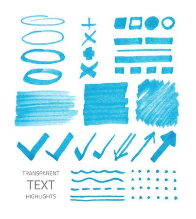 Vector set of transparent highlighter marks, blue color isolated on white Ilustração