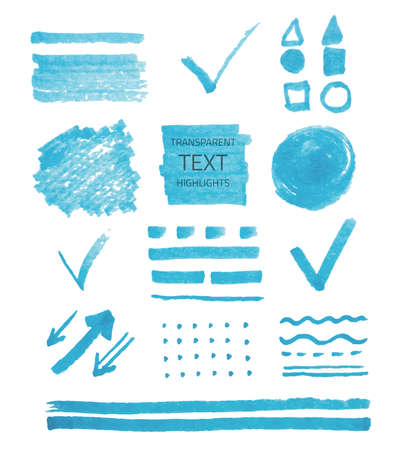 soft tip pen: Vector set of transparent highlighter marks, blue color isolated on white Illustration