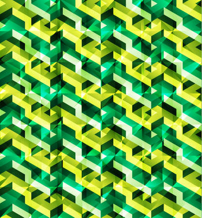 glitch: Isometric geometric vector seamless pattern of green triangles with shining glitch effect, ready to use