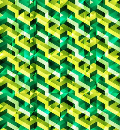 glitch: Isometrico vettore geometrico seamless di triangoli verdi con brillante effetto glitch, pronti da usare Vettoriali