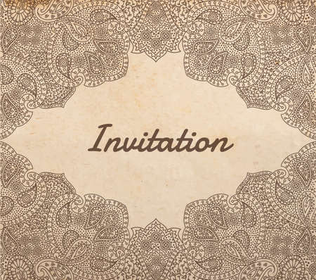 Vintage old paper texture with vector traditional asian vignette frame, hand drawn detailed paisley ornament, Invitation template Vector