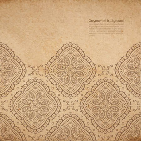 Vector ornate background with copy space, coffe brown ornament on old cardboard