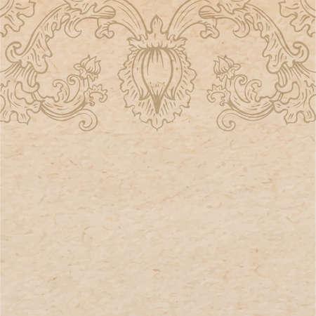 Vintage oud papier textuur met vector gedetailleerde art-nouveau decoratief gegraveerd floraal ornament, hand getekende element Stock Illustratie