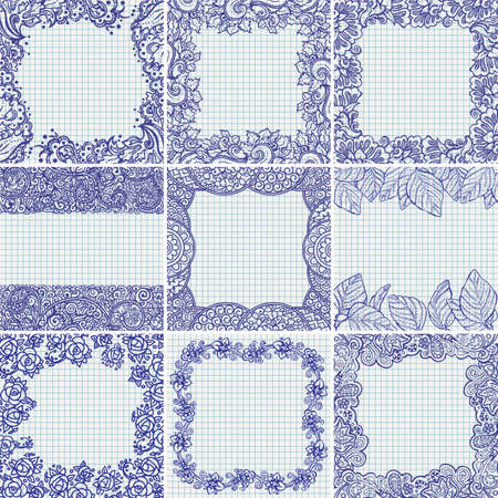 Set of vector floral ornamental frames and backgrounds on checked school paper drawn by ballpoint pen ink blue, back to school theme Vector