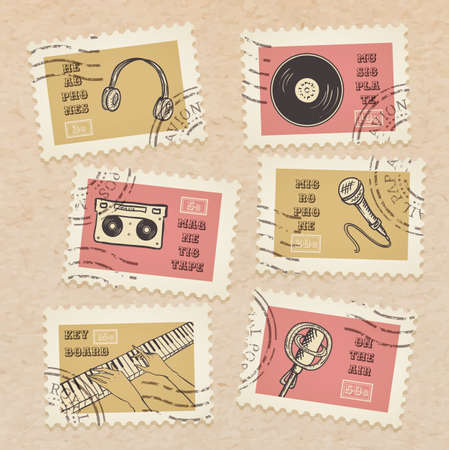 Vector postage stamps collection, retro music equipment theme, canceled - decorative set for scrapbooking on realistic cardboard background Vector