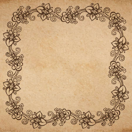 Vintage old paper texture background with floral ornamental frame , scrapbooking victorian style page, hand drawn vector illustration Illustration