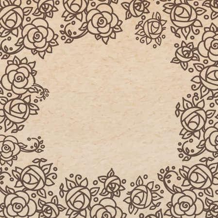 Vintage old paper texture background with floral ornamental frame , scrapbooking victorian style page, hand drawn vector illustration Ilustração
