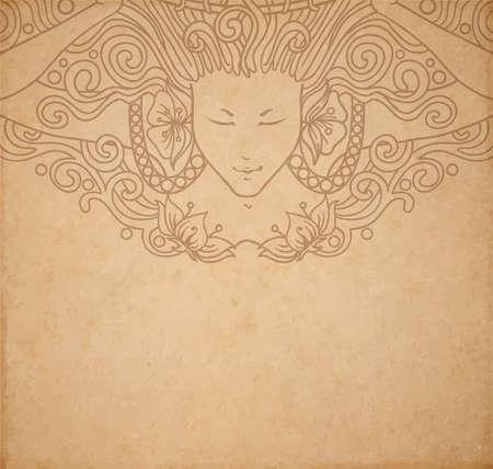 ヴィンテージ古い紙のテクスチャ ベクトル詳細なアール ヌーボー装飾的な彫刻が施された天使女と手描き下ろし飾り