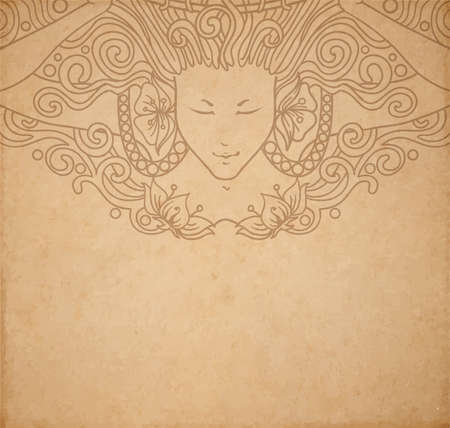 Vintage old paper texture with vector detailed art-nouveau decorative engraved angel woman, hand drawn ornament Çizim
